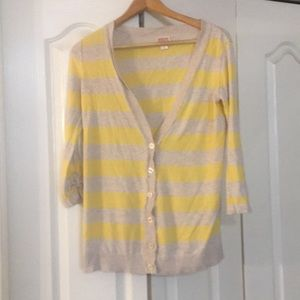 mossimo supply co striped yellow button cardigan